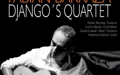 FABIÁN BARRAZA DJANGO`S QUARTET, grupo referencia del jazz manouche en nuestro país, inaugura esta noche, a las 22 horas, el ciclo del VII FESTIVAL  SIFaSOL  2018, en la Plaza de la Llotgeta,  Catarroja, Valencia .