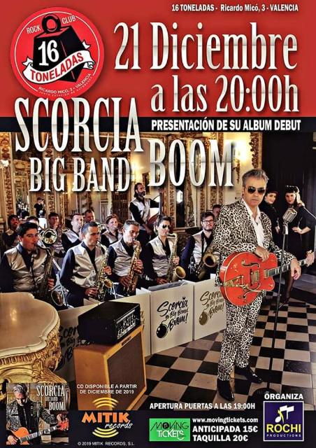 SCORCIA BIG BAND BOOM presentación disco debut en Valencia – Sala 16 Toneladas día 21 de Diciembre de 2019 a las 20:00h