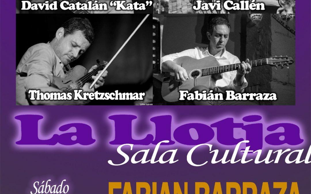 Fabián Barraza Django's Quartet, actúan el próximo día 5 en la sala cultural La Llotja de Elche